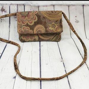 Vintage Boho Floral Tapestry Shoulder Purse